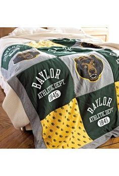 Good-looking #Baylor Patchwork Blanket (available at Baylor Bookstore)