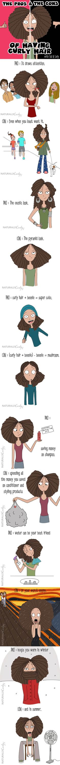 The pros and cons of curly hair.
