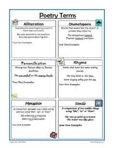 Free! Poetry terms reference sheet