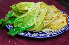 """Grilled romaine hearts-- """"Because the grill caramelizes the lettuce, there's no need for added dressing which makes it low in fat/calories and high in flavor!""""    From Grill Grrrl blog."""