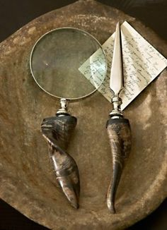 horn-handled magnifying glass and letter opener