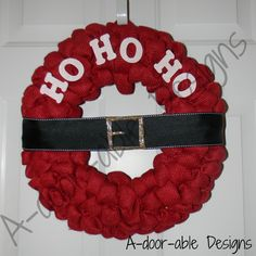 Red Burlap Santa Wreath by A-door-able Designs  www.facebook.com/adoorabledesigns