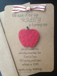 Apple of Our Eye Handmade Invitations Custom Made for Birthday Party or Baby Shower on Kraft Paper, Set of 8 Invites #PinAtoZ