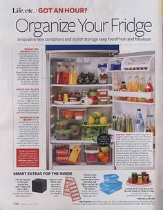 Videos Guides for Organizing Fridge  Tip 1: Place your leftovers in plastic see-through containers. Most food leftovers will last for about one to two days.  Tip 2: For poultry products, clean and wash them carefully first before storing them in a container.  Tip 3: Do not wash vegetables before storing. Wash them before you are going to use them.  Tip 4: For green leafy vegetables, it would be better if you place them in a plastic warp first.  Tip 6: Replace caps of bottles tightly.