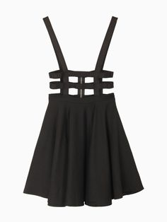 """DON'T BUY THIS (I'm totally not digging the exposed industrial zipper, & anyway, wtf is """"one size""""?!), BUT YOU SHOULD TOTALLY HELP ME MAKE IT!!!  (Cut Out High-waisted Black Skirt With Shoulder-straps - $40USD"""