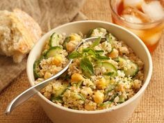Bulgur, Cucumber & Chickpea Salad...perfect Summer Side!!     #summer #salad #greekyogurt