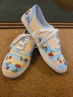 Cherry Painted Shoes... No link to source though... #CherryShoes #Cherry #CherryChick