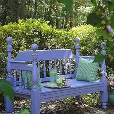 How to Create a Headboard Bench {trash to treasure} Like this color.