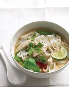 Asian Noodle Soup with Chicken and Snow Peas Mayettes Style 416 463 0338 Toronto