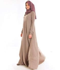 The full flair of this abaya is flattering to look at and modest to wear!