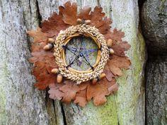 Natural Oak leaf & Wheat Pentagram Samhain Autumn Wreath. | eBay