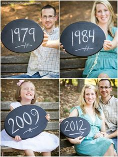 Birth announcement idea: Dad, Mom, older sibling and baby-to-be's birth years.