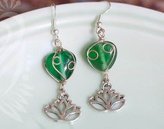 Wire Wrapped Bead and Lotus Tribal Belly Dance Earrings