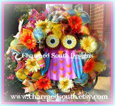 Owl wreath #owl www.charmedsouth.etsy.com
