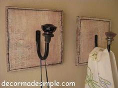 cute idea for coat hanger by front door :) easy to make, just take curtain tie back hook and old glass door knobs...put  screw down the end of the hook for more stability for the door knob...
