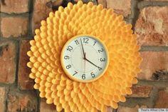 Reloj de cocina con cucharas de plástico #DIY #reusar #crafts