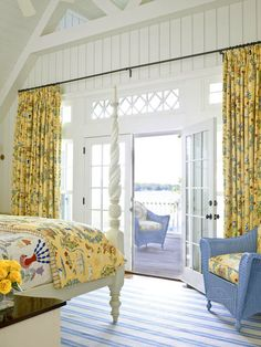 yellow blue airy bedroom