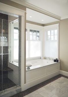 Lovely Master Bathroom With All Those Windows And How It Still Connects To Th