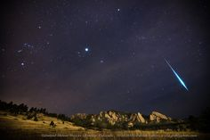 "Geminid Fireball. (Image: Patrick Cullis) Geminid Meteor Shower over the Flatirons of Boulder, Colorado on December 14, 2012. Orion marches across the sky toward the Pleiades and bright Jupiter inside of the constellation Taurus the Bull. Cullis won a prize in the competition, but not with this picture. Mona Evans, ""Astronomy Photographer of the Year 2014"" http://www.bellaonline.com/articles/art184169.asp"
