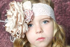 Champagne Dream, headband with lace, pearls, ostrich feathers and silk