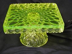 -- Vaseline Glass Cake Stand--   Made in Ohio by Trail Town Finds,