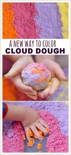 color cloud dough, candy colors, colored cloud dough, food coloring, cloud dough recipe