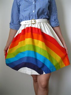rainbow skirt. cute! any solid rainbow color shirt would work!
