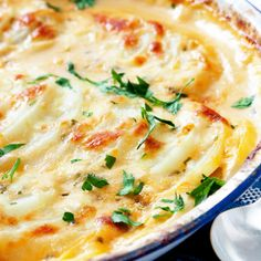 Swiss Cheese Scalloped Potatoes Recipe  These scalloped potatoes are so creamy and delicious.