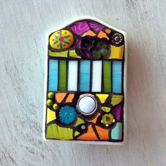 Mosaic doorbell cover by Molly Alexander