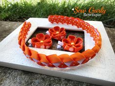 Orange & White braided Kanzashi Headband by SewGurlyBowtique, $14.00