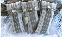 Set of three biege striped lavender sachets
