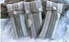Set of three biege striped lavender sachets