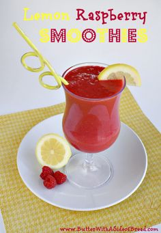 Lemon Raspberry Smoothies! Butter with a Side of Bread #recipe
