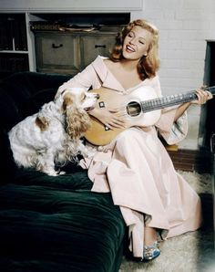music, puppies, rita hayworth, dogs, vintage