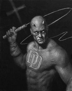 Daredevil & Captain America  Charcoal Illustrations by Matt Buck
