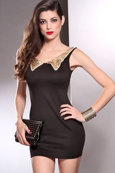Black Sleeveless Sequin Collar Tight Fitted Sexy Dress
