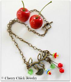 Tweet Bird on Branch Cherry Flower Necklace #CherryJewelry #CherryNecklace #CherryChick #Necklace #BeadedNecklace