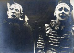 """Two early Ringling Brothers' circus clowns, whose photos appeared in the Ringling Annual under a section titled """"Last of the Old-Time Clowns"""". Photographs relating to circus and rodeo performances, ca. 1875-1940. Included are images of costumed performers, behind-the-scenes work, circus tents, animals, crowds, publicity photographs, and images of performances."""