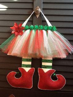 Elf Legs Burlap Door Hanger. $30.00, via Etsy.