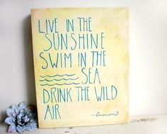 I can do this!  Ralph Waldo Emerson Quote Canvas, Live In The Sunshine Word Art Painting, Typography Book Quote Canvas, Yellow and Turquoise Wall Decor on Etsy, $59.00