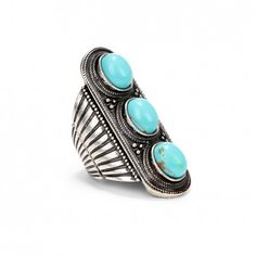 Turquoise Etched Stone Armor Ring