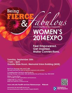 UNH's Being Fierce and Fabulous Women's Expo returns to #UNH on 9/30. Open to the UNH Community.
