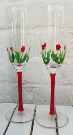 Two Red Tulip Design Champagne Flutes