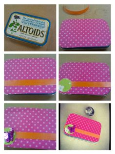 Mod Podge glass marble button and covered Altoid tin from Condo Blues