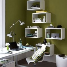 Love this modern look and functionality for an office (not so much the wall color).