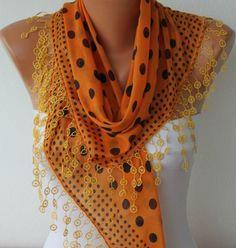 Polka Dot  Scarf   Cotton Scarves   Cowl Scarf  Shawl  by fatwoman, $15.30