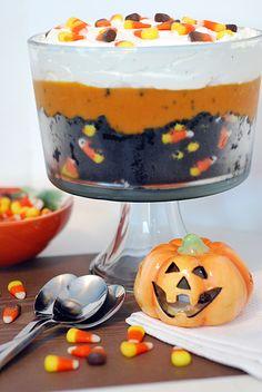 Black Velvet Halloween Trifle: red velvet cake mix, candy corn, whipped cream, and pudding.  Definitely making this!