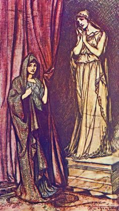 Paulina drew back the curtain which concealed this famous statue; The Winter's Tale - Tales From Shakespeare by Charles and Mary Lamb, 1909