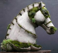 very cool planter! clay, hors, green homes, moss art, ceramics, planter, garden sculptures, cement, moss garden