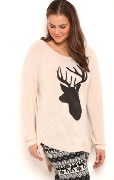 Deb Shops Plus Size Long Sleeve High Low Super Soft Top with Deer Screen $14.00